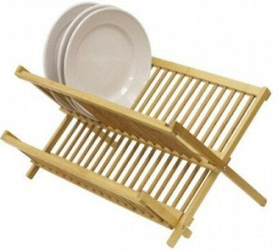 dd01018 dish drainer foldable bamboo
