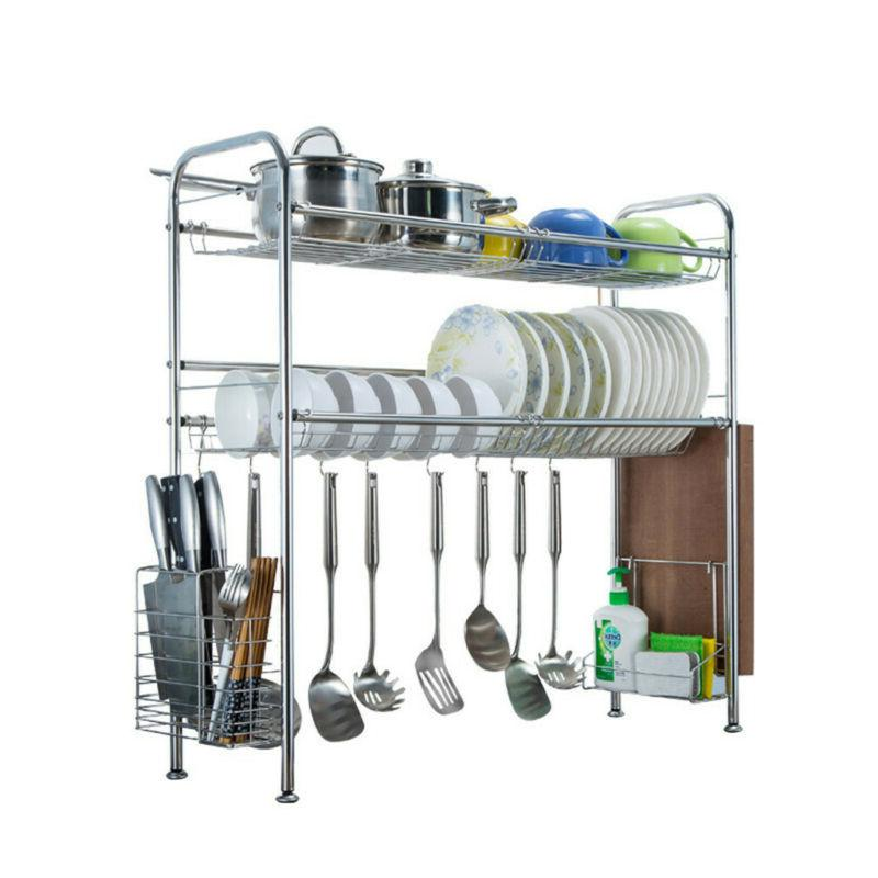 Over Sink Dish Drying Rack Drainer Stainless Steel Cutlery U