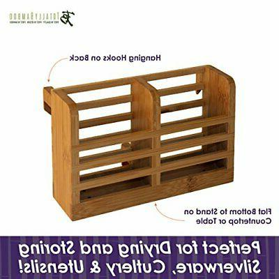 Eco Dish Rack Utensil Holder Strong 100 Percent Bamboo Organizer