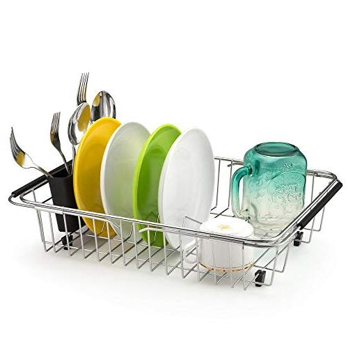 SANNO Expandable Rack,Over The Arms Dish in Sink Counter Storage Holder, Steel