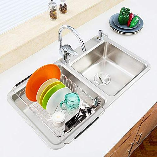 SANNO Expandable Dish Rack,Over The Arms Dish Drainer,Dish in or On Counter with Storage Steel