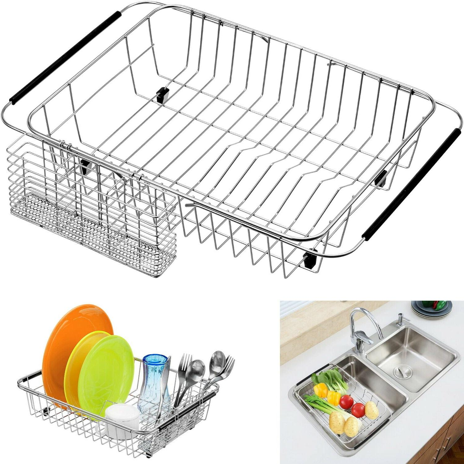 expandable dish drying rack large drainer over