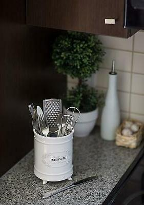 French White Holder Kitchen Caddy