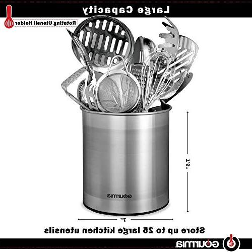 Gourmia GCH9345 Rotating Kitchen Utensil Stainless Organizer Store Cooking Non Use