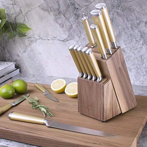 Gold Walnut Kitchen Steel Gold Knives Set, Upgraded Knives - Gold Kitchen Accessories