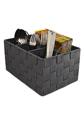 Grey Weave Utensil Holder with Handles