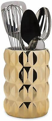 Hand Crafted Holder Gorgeous Glossy Utensil Crock