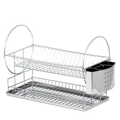 High Quality Drainer Rack W/ Stainless Steel Utensil Tray