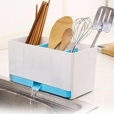 Holder Rack Basket Sponge Dry Cutlery Drainer Tidy Q