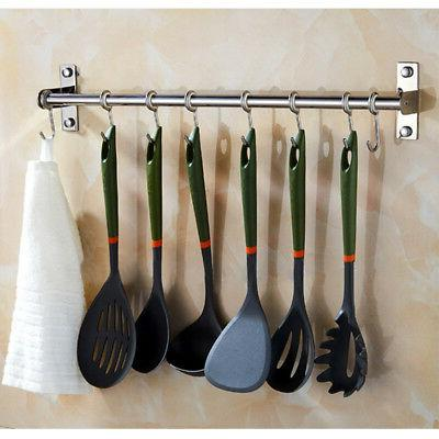 Kitchen Bathroom Rod with Wall Mounted Utensil Rack Tool