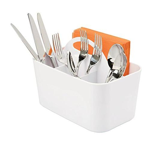 mDesign Plastic Cutlery Organizer Tote Kitchen Cabinet or Pantry - Organizer for Forks, - Outdoor Use - White