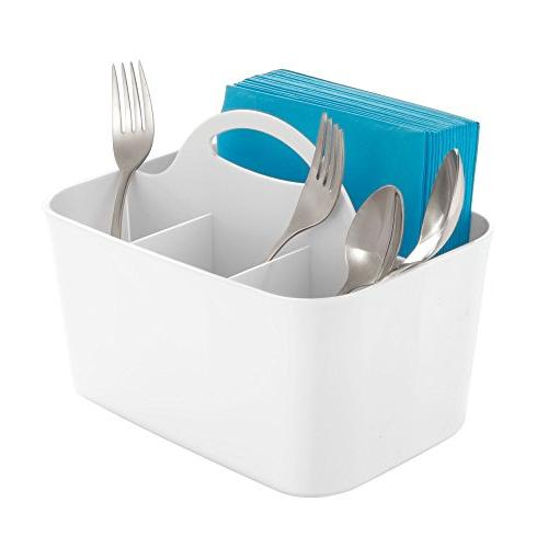 mDesign Plastic Organizer - Tote Handle - Kitchen - Basket Forks, Knives, Spoons, - Indoor or Outdoor Use 2 White