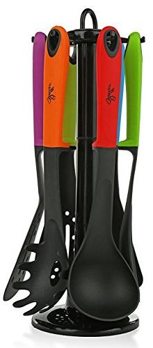 STELLAR 6 Piece Kitchen Cooking Utensil Set with Stand. Nons