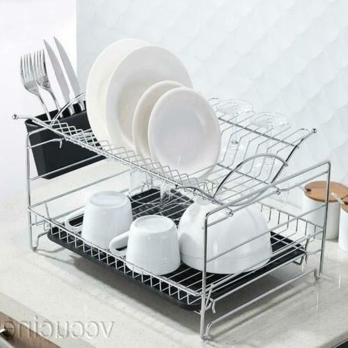 kitchen dish drying rack drainboard cutlery cup