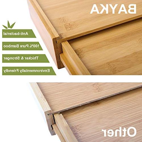 Kitchen Drawer Expandable 100% Pure Drawer Dividers, Cutlery with 4 Fit Snugly Any Drawer
