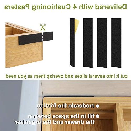 Kitchen BAYKA Expandable Pure Bamboo Drawer Dividers, Cutlery Flatware & with 4 Cushioning Fit Snugly into Any Drawer
