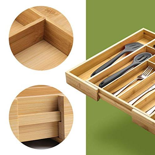 Kitchen Drawer Organizer, Expandable Pure Bamboo Cutlery Utensils & Flatware & Organizer Fit Drawer