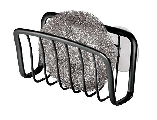 mDesign Sink Organizer Caddy, Holder for Sponges, Scrubbers Quick Drying Design Cups Pack 2, with Black Finish
