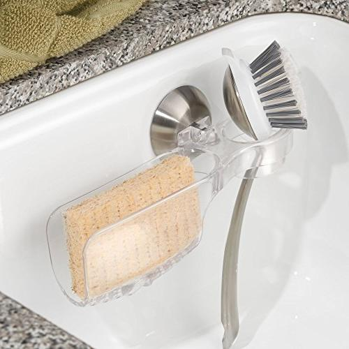 mDesign Holder for Sponges, Scrubbies, Clear/Brushed Stainless Steel