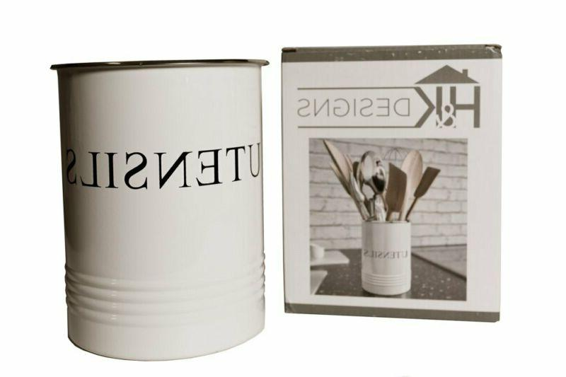 Kitchen Utensil Holder - Farmhouse Decor for - White Crock Caddy