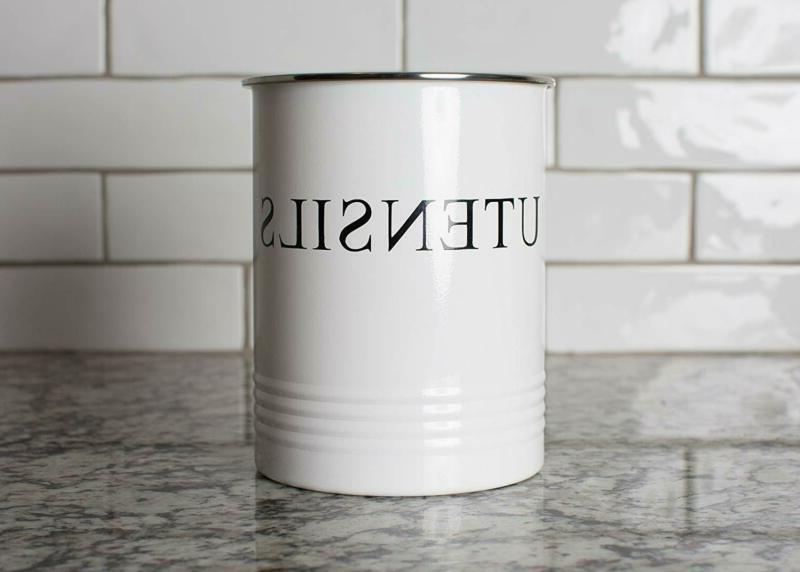 Kitchen Utensil Holder Farmhouse Decor - White Crock Caddy
