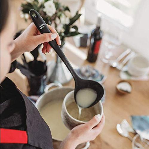 Kitchen Utensil Set Holder Silicone Toxic Heat Tools – Ladle Pasta Fork Whisk Tongs