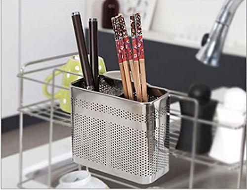 Cook Utensils Chopsticks Holder Perforated Rack Basket with Hooks Compartments Large