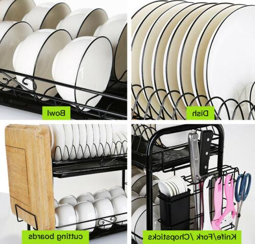 Large Capacity Dish 2 Tier w/ Holder Drainer Kitchen Storage