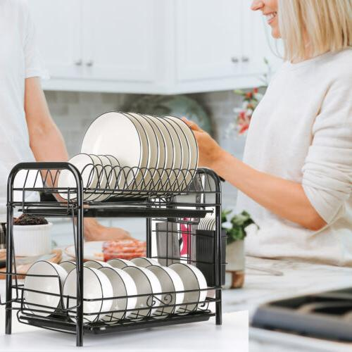 Large Dish 2 Tier w/ Holder Drying Kitchen Storage