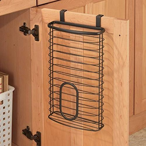 mDesign Metal Cabinet Kitchen Organizer Holder or Basket Over Kitchen/Pantry Holds to Plastic Shopping Bags - Bronze