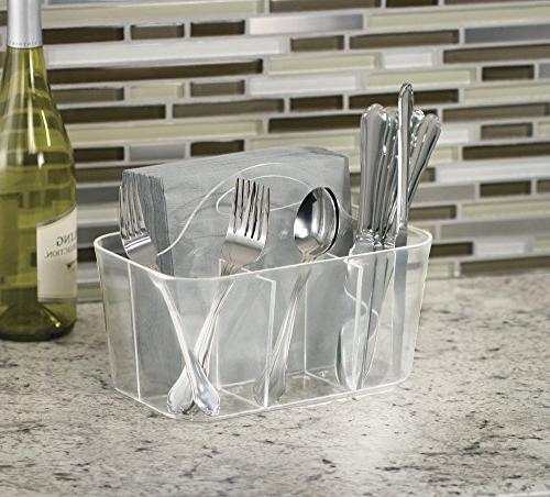 mDesign Cutlery Organizer Tote with - Forks, Knives, - or Use, -