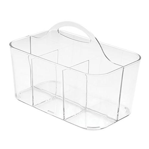 mDesign Plastic Organizer Caddy Tote with Kitchen Cabinet - Basket for Forks, Knives, - Indoor Use, Clear