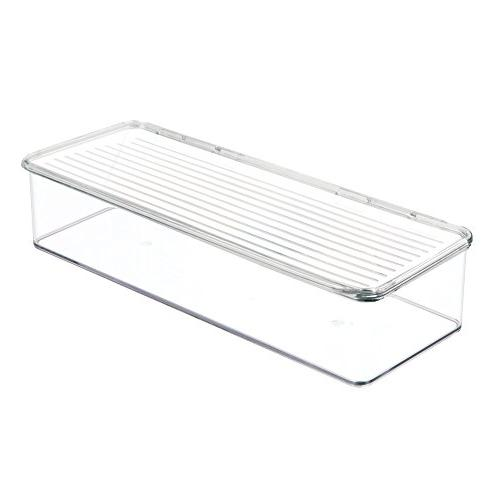 mDesign Stackable Kitchen Pantry Cabinet/Refrigerator Food Storage Bin, Attached Organizer for Packets, Snacks, Produce, - BPA Free, Clear