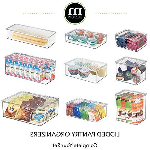 mDesign Stackable Kitchen Cabinet/Refrigerator Storage Bin, Attached Organizer for Produce, Free, Food - Clear
