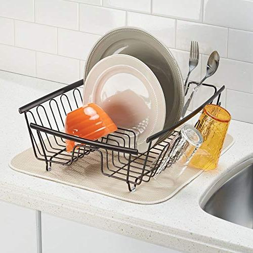 mDesign Large Kitchen Sink Rack with Cutlery - Wine Glasses, Dishes - 2 Bronze Wire/Clear Free