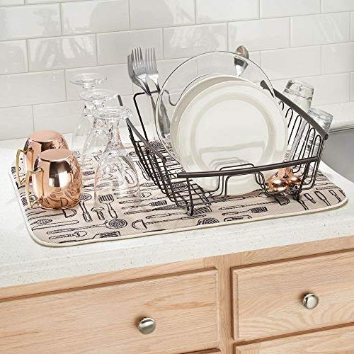 mDesign Kitchen Countertop, Sink Dish with Cutlery - Dishes Bronze Free Cutlery