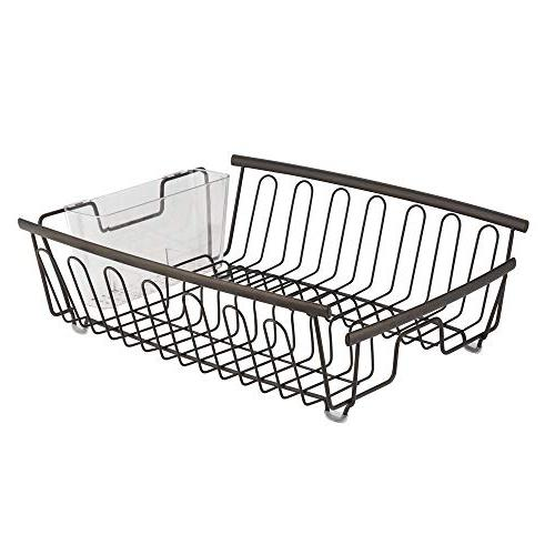 mDesign Large Sink Dish - and Wine Glasses, Bowls and Dishes - 2 Bronze Wire/Clear BPA Free Cutlery Caddy