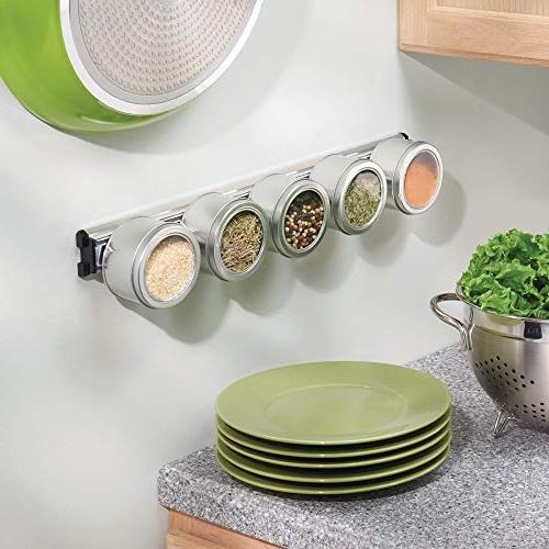 mDesign Metal Kitchen Mount Holder Strip Spacing Saving Storage for Knives, Utensils, Scissors - Hold Magnet Bar - Long, 2