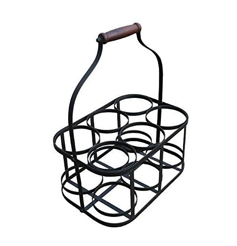 6-Bottle Metal Rack Basket Handle SKU: