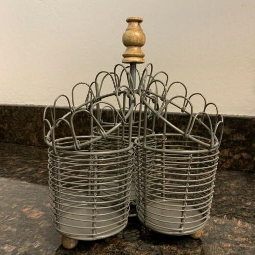 metal utensil holder with wooden handle white