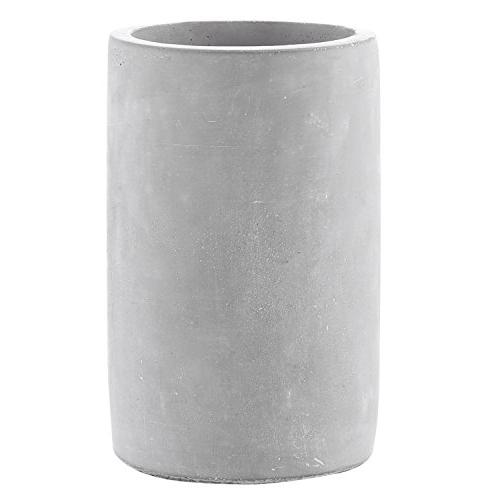 Modern 8-Inch Gray Unglazed Clay Planter Vase with LIVE
