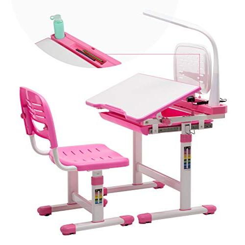 Incredible Mecor Childrens Desk Chair Set Height Adjustable Kids Student School Study Table With Lamp Pencil Case Bookstand Pink Machost Co Dining Chair Design Ideas Machostcouk