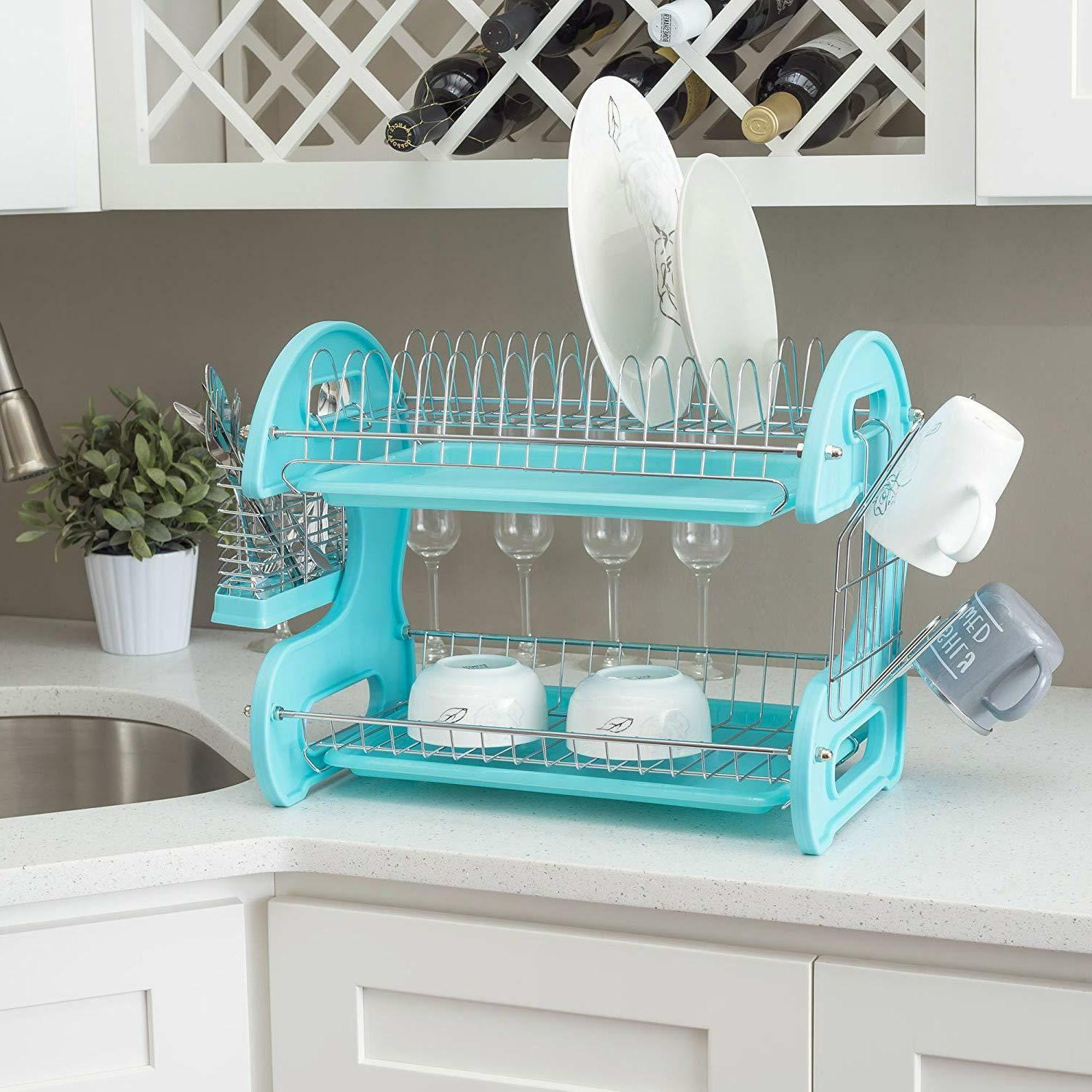 New Home Basics Plastic Dish 2-Tier - Turquoise /