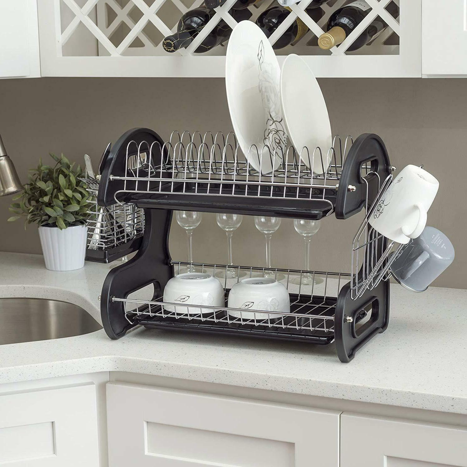New Dish Drainer 2-Tier Turquoise / Black