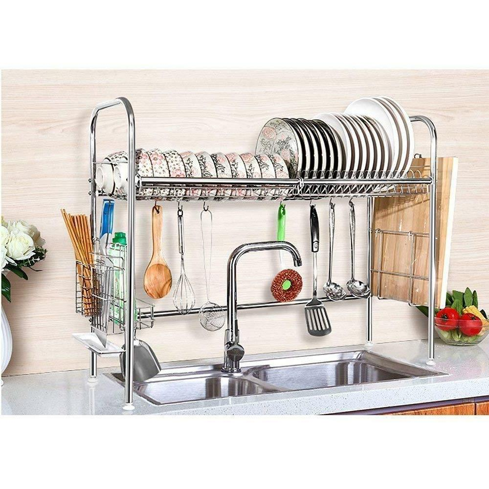 IZLIF 2-Tier Chrome Finish Dish Drying Rack Set and Drainboa