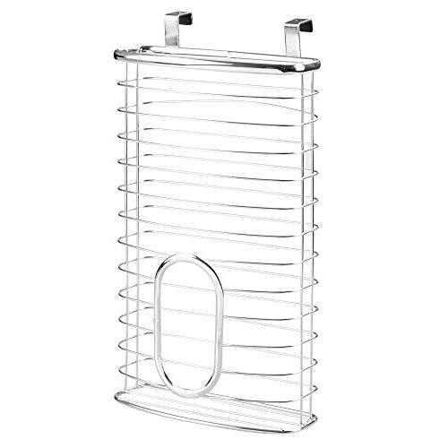 mDesign Metal Over Kitchen Storage Organizer Holder or Over Cabinet in Kitchen/Pantry - up Bags - Chrome