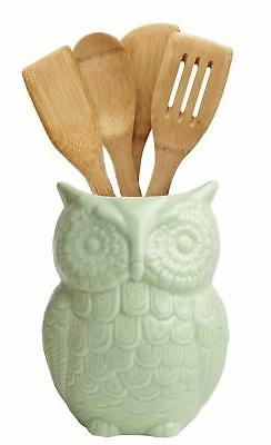 owl utensil holder decorative ceramic cookware crock