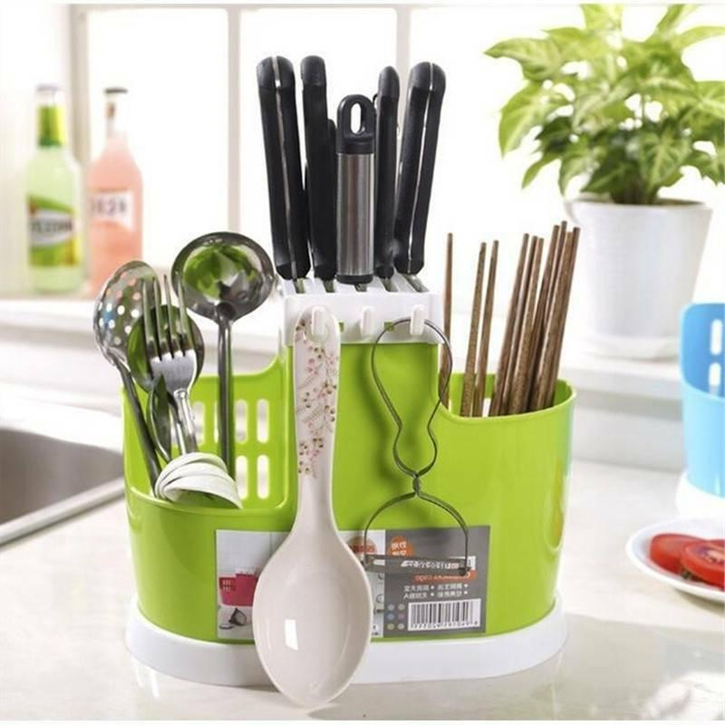 Plastic Draining Rack Cutlery Utensil Holder Storage Box