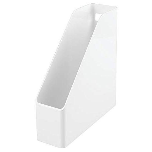 mDesign Vertical with Handle Holds Home Desktops - White