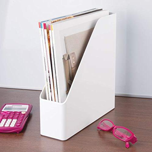 mDesign Plastic Bin Vertical with - Holds Notebooks, Binders, Envelopes, Magazines for Home Desktops Pack - White